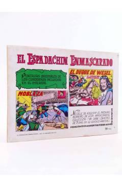 Contracubierta de EL ESPADACHIN ENMASCARADO 2ª EDICIÓN 16. EL CASTIGO DE UN MALVADO (Quesada / Gago) Valenciana 1981