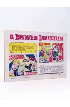 Contracubierta de EL ESPADACHIN ENMASCARADO 2ª EDICIÓN 17. EL ENGAÑO DE MILADY (Quesada / Gago) Valenciana 1981