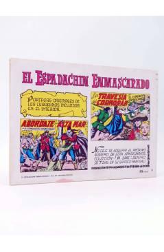 Contracubierta de EL ESPADACHIN ENMASCARADO 2ª EDICIÓN 20. EL LOBO (Quesada / Gago) Valenciana 1981