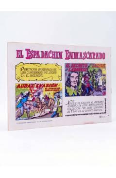 Contracubierta de EL ESPADACHIN ENMASCARADO 2ª EDICIÓN 68. PIEL DE GATO (Quesada / Gago) Valenciana 1982