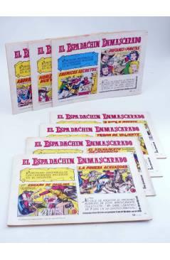 Contracubierta de EL ESPADACHIN ENMASCARADO 2ª EDICIÓN 18 19 20 21 22 42 71. LOTE DE 7 (Quesada / Gago) Valenciana 1981