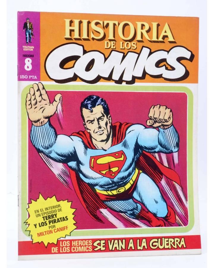 Cubierta de HISTORIA DE LOS COMICS FASCÍCULO 8. LOS HÉROES SE VAN A LA GUERRA (Vvaa) Toutain 1982