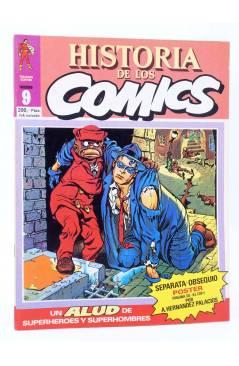 Cubierta de HISTORIA DE LOS COMICS FASCÍCULO 9. UN ALUD DE SUPERHOMBRES (Vvaa) Toutain 1982. CON POSTER
