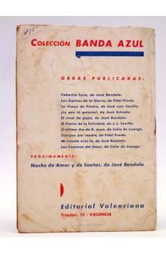 Contracubierta de COLECCIÓN BANDA AZUL 10. LOS CAMINOS DEL AMOR (Celia De Luengo) Valenciana Circa 1930