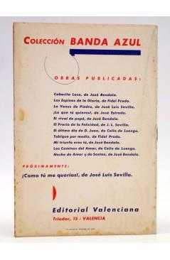 Contracubierta de COLECCIÓN BANDA AZUL 11. NOCHE DE AMOR Y DE SAETAS (José Bendala) Valenciana Circa 1930