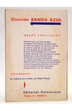 Contracubierta de COLECCIÓN BANDA AZUL 14. ¡TENGO MIEDO SIN TI (J. Pellisó) Valenciana Circa 1930