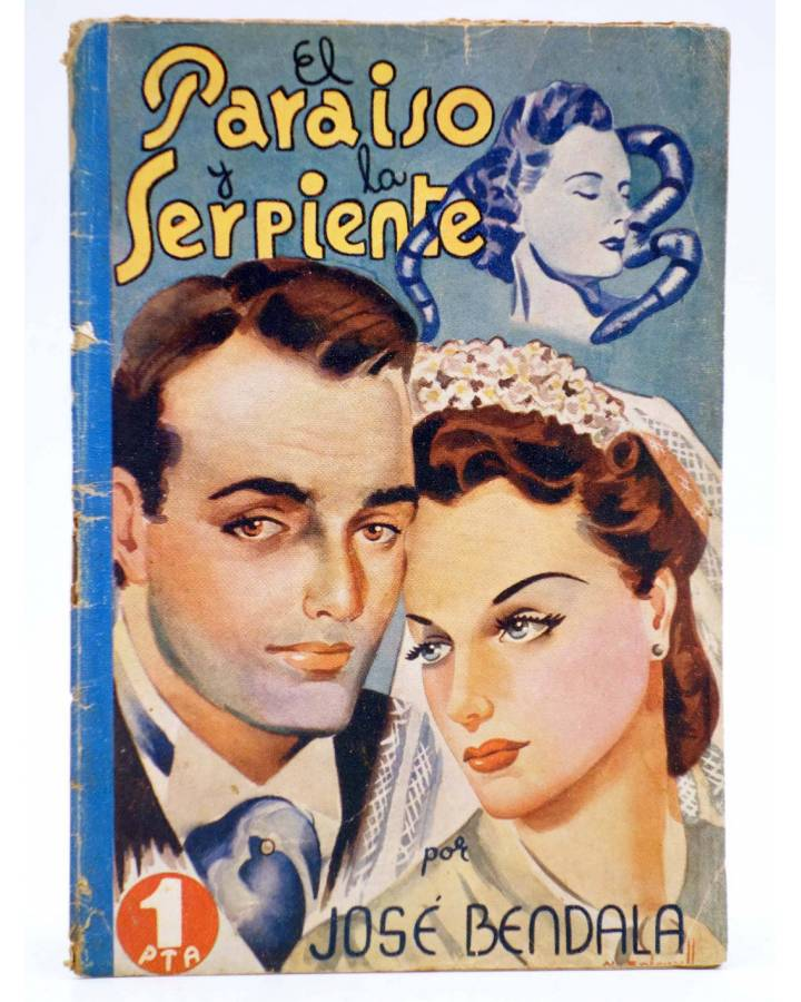 Cubierta de COLECCIÓN BANDA AZUL 19. EL PARAÍSO Y LA SERPIENTE (José Bendala) Valenciana Circa 1930