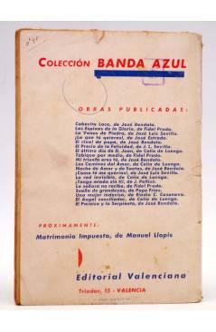 Contracubierta de COLECCIÓN BANDA AZUL 19. EL PARAÍSO Y LA SERPIENTE (José Bendala) Valenciana Circa 1930