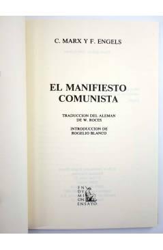 Muestra 1 de EL MANIFIESTO COMUNISTA (Karl Marx / Engels) Endymion 1987