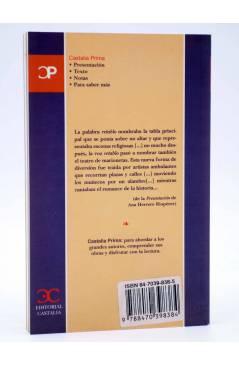 Contracubierta de CASTALIA PRIMA 6. DOS RETABLOS Y UN RETABLILLO (Cervantes / García Lorca) Castalia 1999