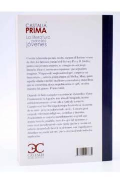 Contracubierta de CASTALIA PRIMA 53. FRANKENSTEIN O EL MODERNO PROMETEO (Mary W. Shelley) Castalia 2017
