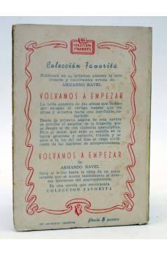 Contracubierta de COLECCIÓN FAVORITA 50. NUNCA SERÉ TUYA (Matilde Redón Chirona) Valenciana Circa 1960