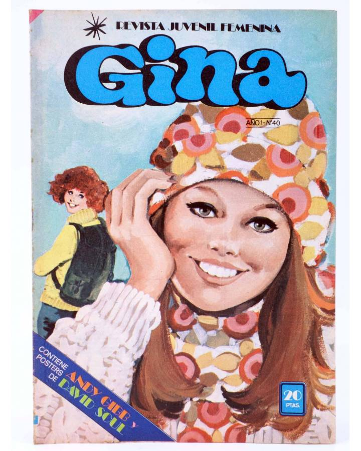 Cubierta de GINA REVISTA JUVENIL FEMENINA 40. POSTER DE ANDY GIBB Y DAVID ESSEX (Vvaa) Bruguera 1979