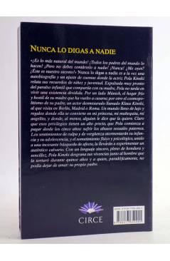 Contracubierta de NUNCA LO DIGAS A NADIE (Pola Kinski) Circe 2014